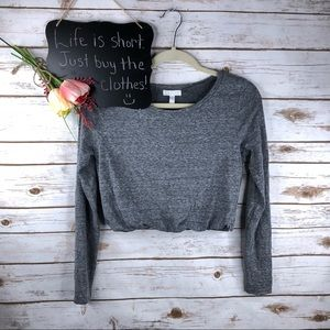 Anthropologie Leith gray marled long sleeve crop